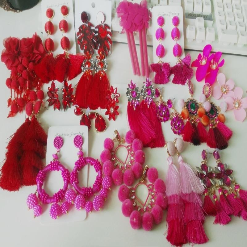 32 Design Long Tassel Pendent Earrings For Women Crystal Drop Earrings Fashion Statement Wedding Jewelry Charm Fringed Earrings