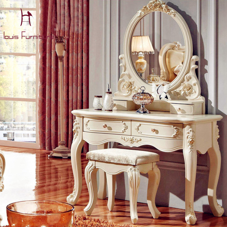 Luxury French Style Pricess Dresser Makeup Dressing Table With Mirror Vanity