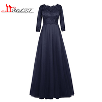 Dark Navy Mother Of The Bride Dresses 2016 Plus Size A Line Long Sleeves Lace Top