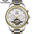 GUANQIN Brand Automatic Mechanical Watches Men Waterproof Luminous Tourbillon Watch Calendar Stainless Steel Band Gold Watches