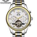 Guanqin marca relojes mecánicos automáticos de los hombres a prueba de agua luminosa reloj tourbillon calendario correa de acero inoxidable relojes de oro