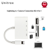 4 In 1 Lighting Audio Camera Reader Adapter Connection Kit Earphone Jack Convertor Cable USB 3