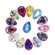50 шт./лот, 3D Стразы для дизайна ногтей, блестящие цветные Стразы для ногтей, 3D кристаллы для дизайна ногтей, камень, золото, алмазное стекло, для маникюра