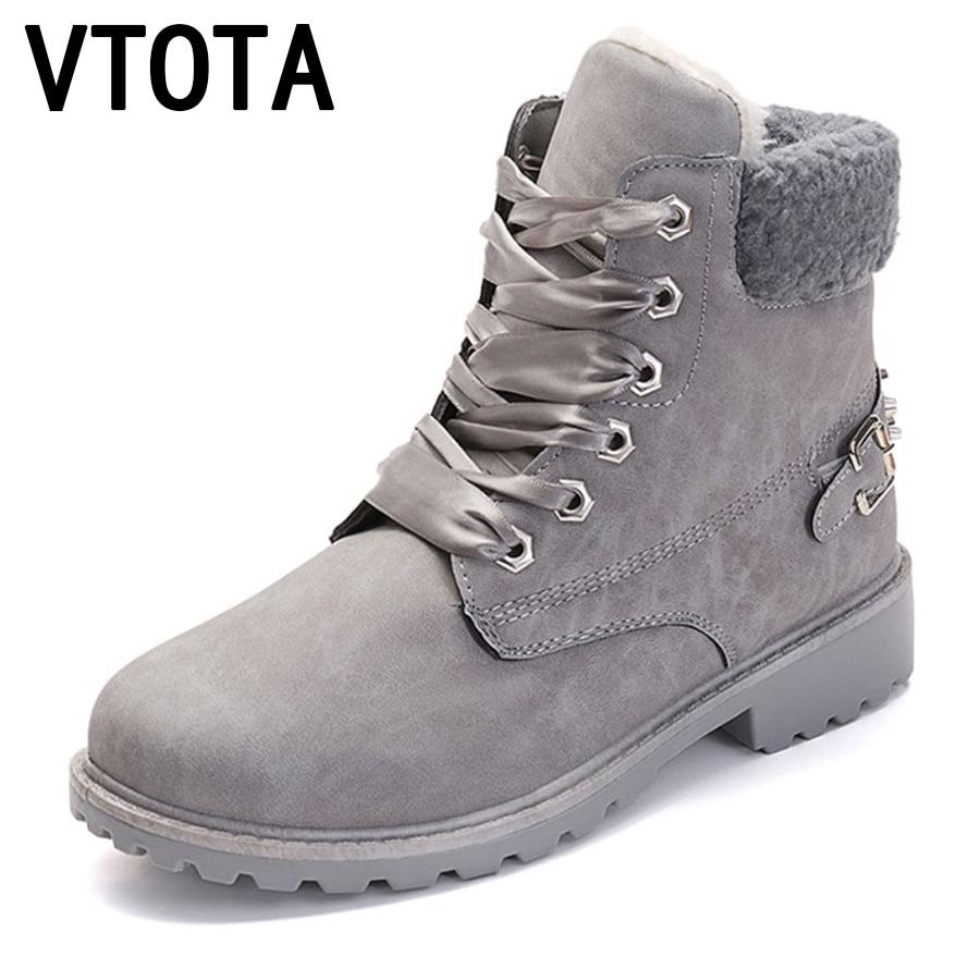 VTOTA Women Boots Winter Casual Ankle Boots Fashion Rivet Snow Boots Female Warm Fur Plush Lace-Up Platform Woman Shoes H162 цены онлайн
