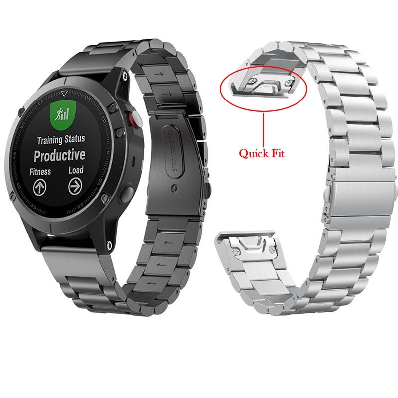 22mm Watch Band For Garmin Fenix 5 Metal Stainless Steel Chain Watch Wrist Strap For Garmin Fenix 5/Approach S60/Forerunner 935 garmin approach white s3 gps watch certified refurbished
