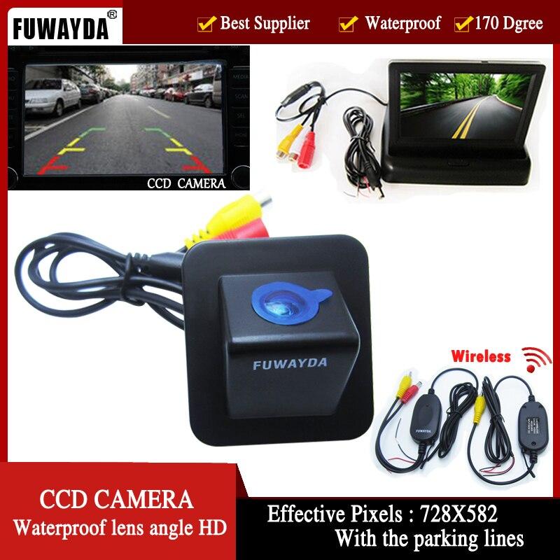 FUWAYDA sans fil couleur CCD voiture vue arrière caméra de stationnement de secours pour Hyundai Elantra Avante 2012 4.3 pouces pliable LCD TFT moniteur