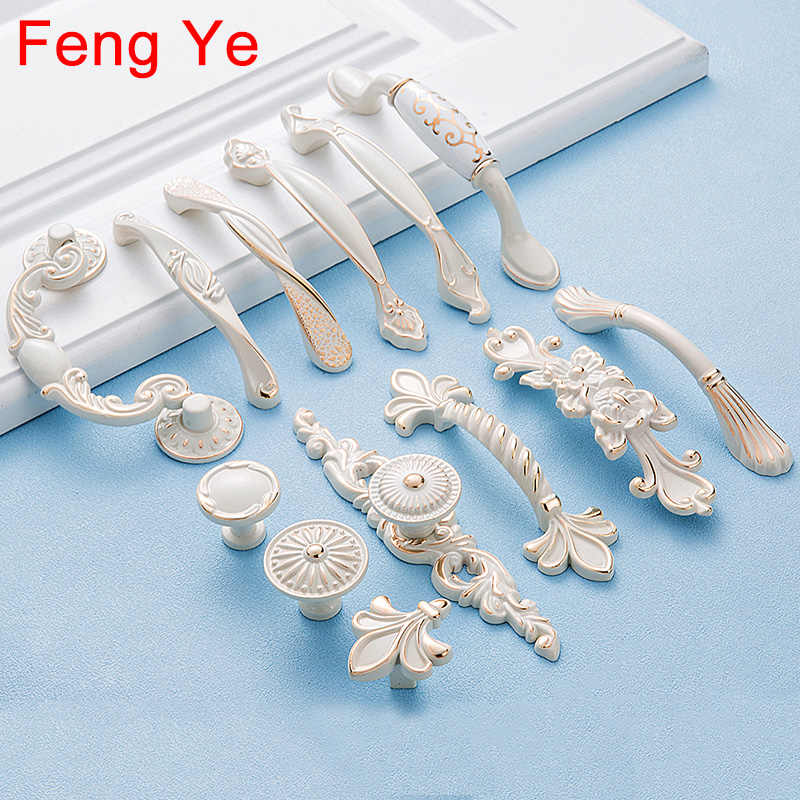 Feng Ye Lvory Handle European Style Kitchen Cabine Knobs And Handles Furniture Drawer Door White Dresser Wardrobe Pulls Hardware