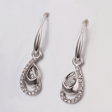 USTAR white gold color Austrian Crystals Drop Earrings Long Vintage Earrings Fashion Wedding Jewelry top quality