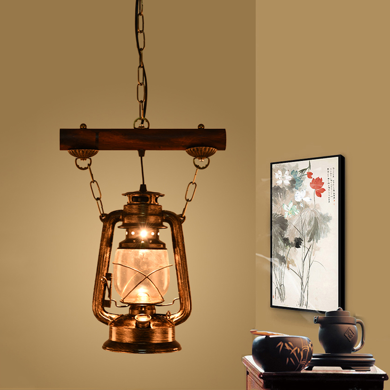 Chinese retro nostalgia chandelier lantern iron creative bar lights teahouse aisle balcony restaurant cafe lamp pendant lamp