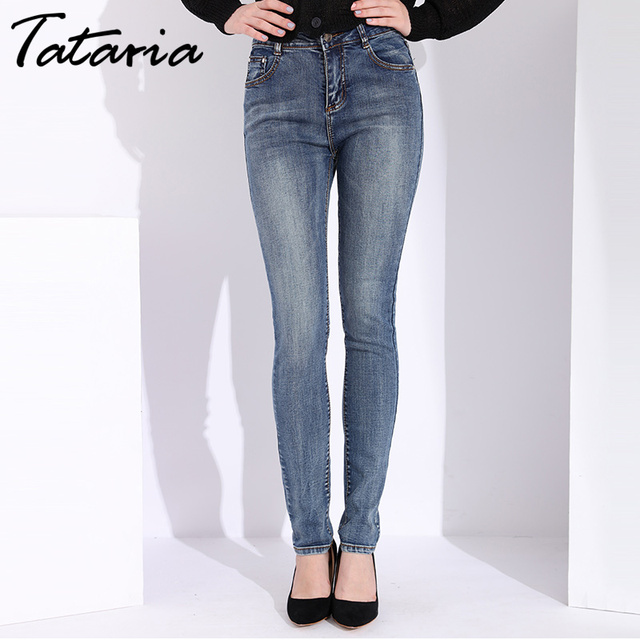 Tataria Skinny Slim Jeans For Women Vintage Style Black Women's Jeans Female Denim Pencil Pants Stretch Korean Jeans For Woman