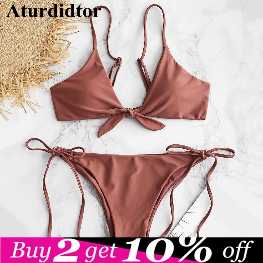 727e49043537 Knotted String Bikini Set 2019 Swimsuit Sexy Bandeau Ladies Swimwear Women  Swim Bathing Suits Wear Strapless