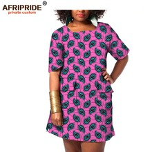 2017Original AFRIPRIDE Private Custom african women clothes mid-length sleeve cotton dress plus size female summer A722542