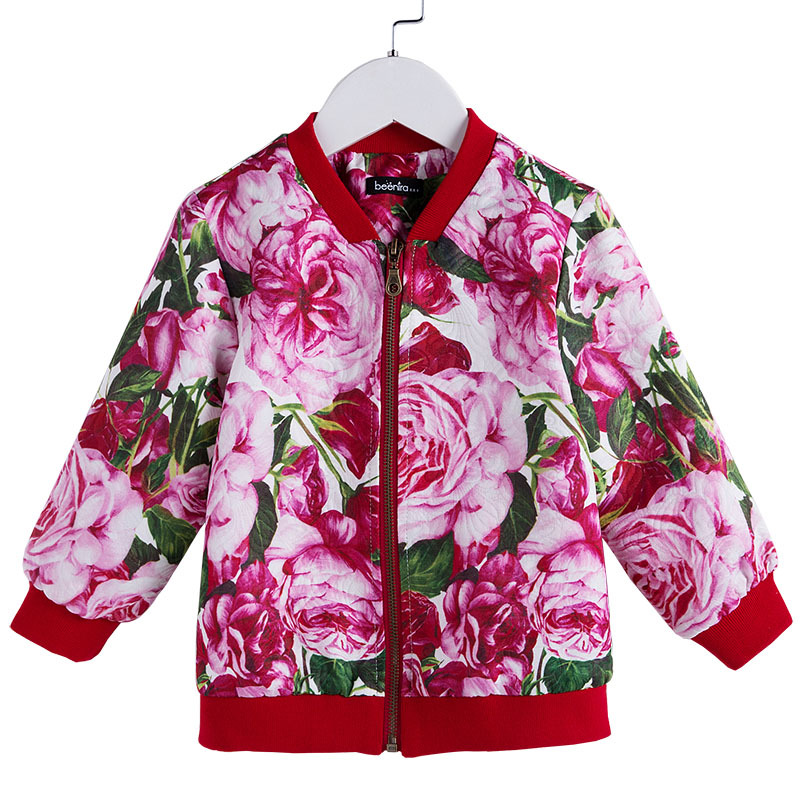 Fashion Autumn Girls Jackets Baby Outerwear Long Sleeve Floral Zipper Coat for Children Clothing Europe Style 4A-14AFashion Autumn Girls Jackets Baby Outerwear Long Sleeve Floral Zipper Coat for Children Clothing Europe Style 4A-14A