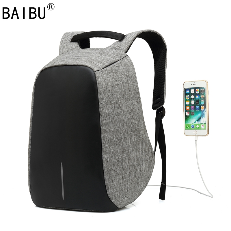 BAIBU Men Backpack Anti Theft With Usb Charger font b Laptop b font ba pack Business