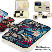 Chinese Style Multi Functional A4 Document Bags Embroidery Waterproof Oxford Cloth Storage Bag For Notebooks Pens