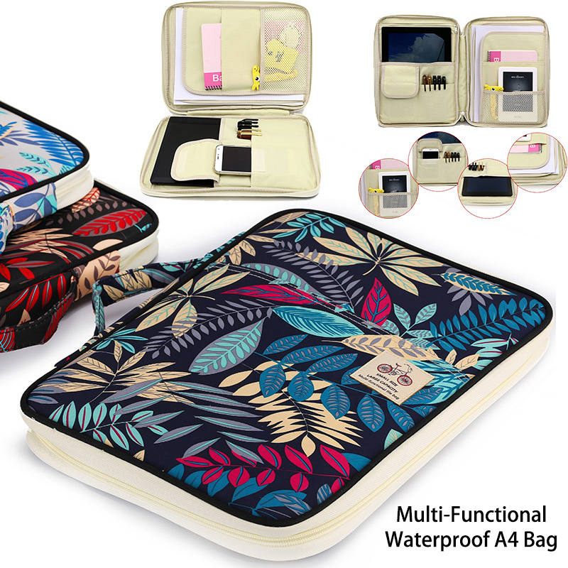 Chinese Style Multi-functional A4 Document Bags Embroidery Waterproof Oxford Cloth Storage Bag For Notebooks Pens IPad Computer