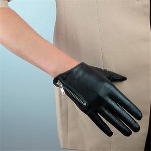 Image 1 - 2020 Latest Genuine Leather Gloves Female Short Sheepskin Gloves Fashion Simple Zipper Decoration Womans Leather Gloves NS23
