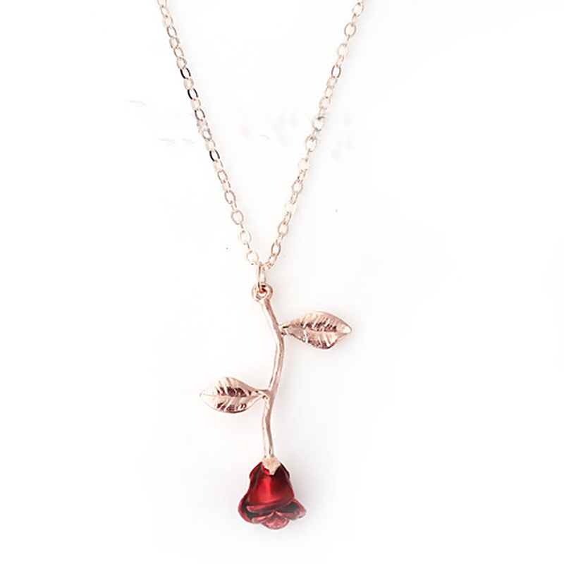 DoreenBeads Trendy Enamel Necklace For Women Girl Rose Gold Color Red Rose Flower Pendent title=