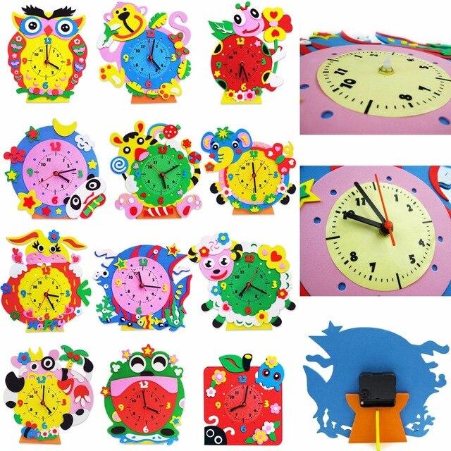 1 Pclot Bricolage Mousse Horloge Kits Dartisanat Art Dessin Animé