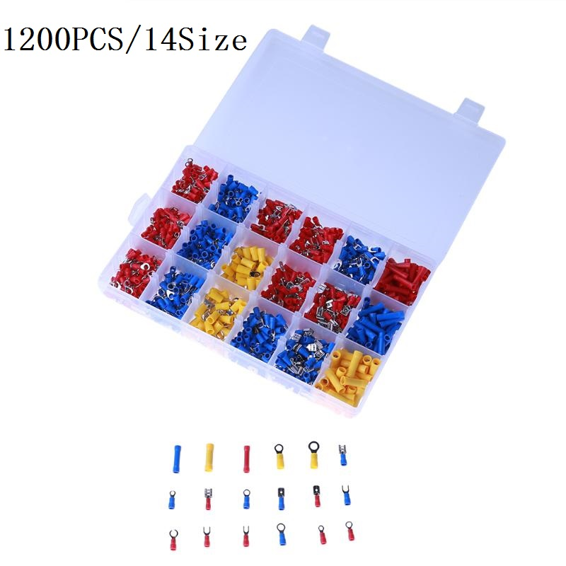 1200PCS Mixed Assorted Lug Kit Crimp Connectors Insulated Electrical Crimp Terminals with 14 Sizes Electrical Wire Connector Set 200 pcs blue insulated crimp receptacle terminals cable lug frd2 195 awg 16 14