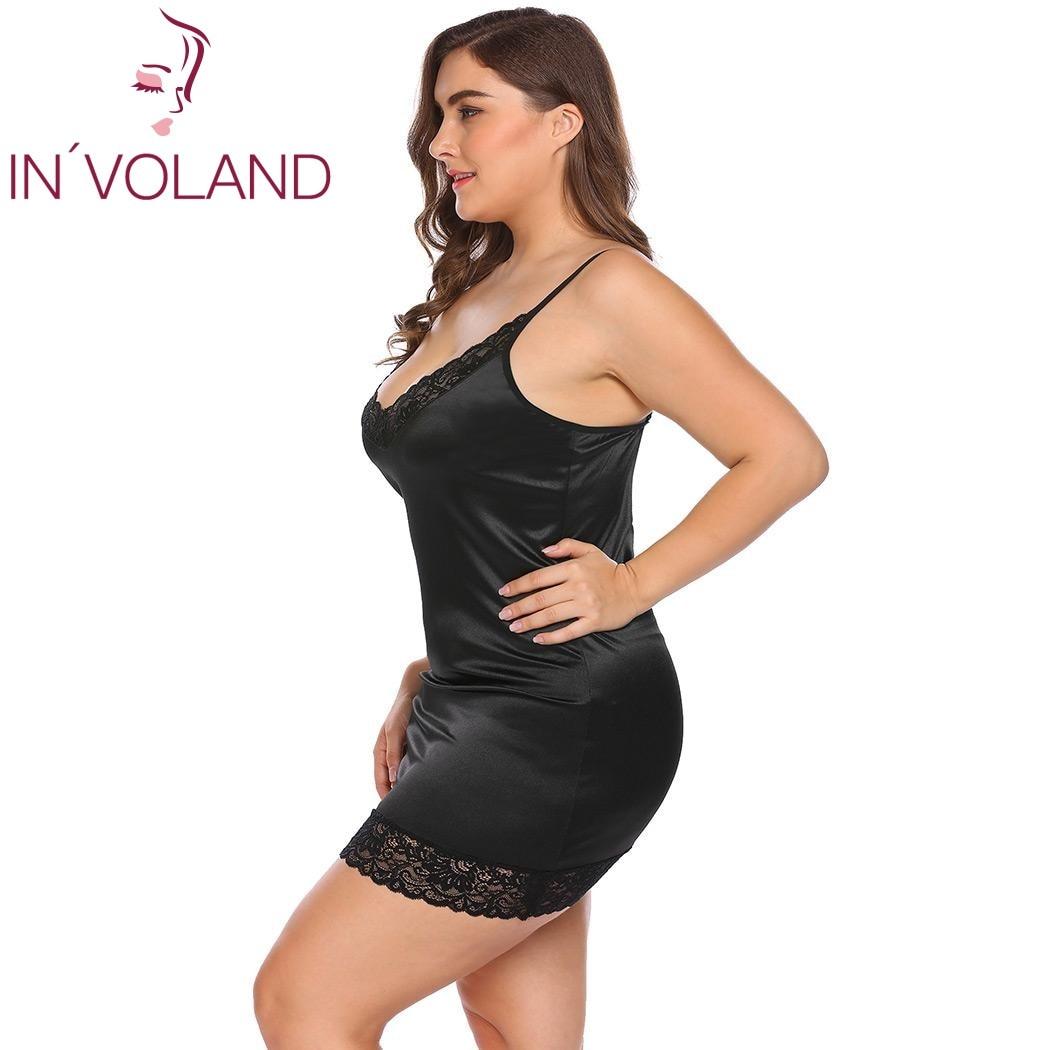 IN'VOLAND Plus Size Women Sleepwear Sexy Lingerie Dress XL-5XL Robe Night Dress Lace Stretchy Satin Babydoll Chemise Nightgown 3
