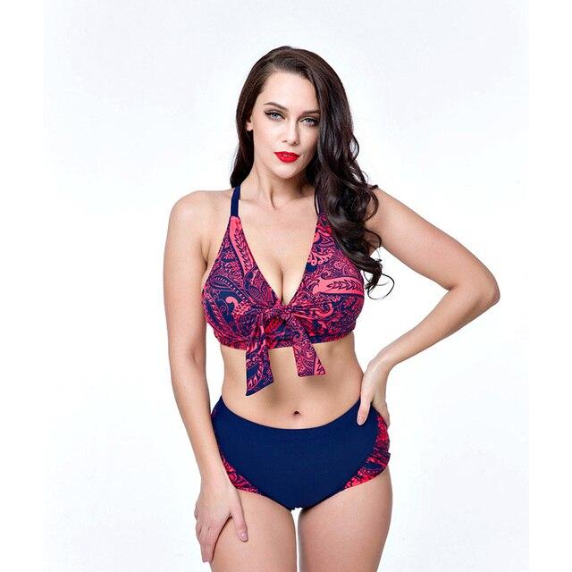 ecb689deda258 Plus Size Bikini Push Up Pads Women Swimsuit Knot Front Large Size Halter  Swimwear Moderate Coverage Swimwear Prints BathSuit
