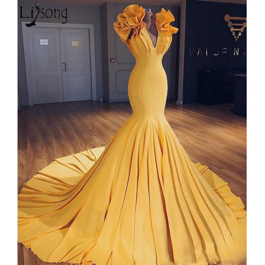 Sexy Yellow Plus Size Mermaid Evening   Dress   2019 Fashion Ruffles Arabic African Long   Prom     Dress   Cheap Satin Dubai Celebrity Gown