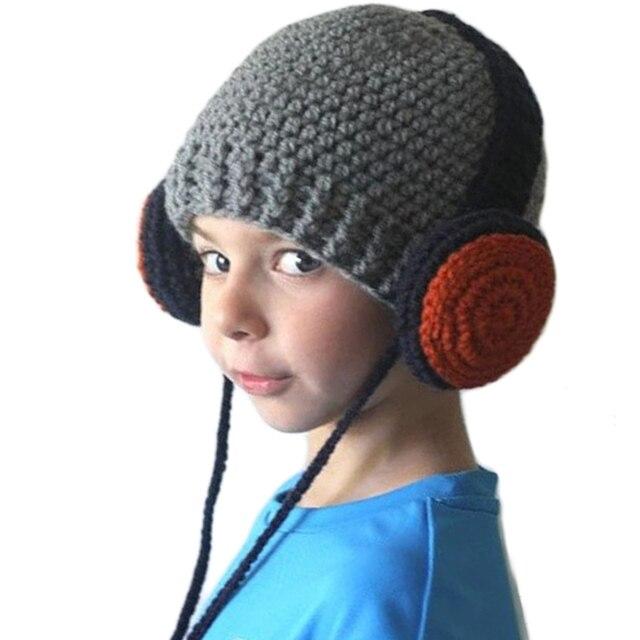 6e338a2a76ec1 Laine tricoté chaud chapeaux pour enfants 2017 bébé garçons hiver  casquettes Crochet bonnets Hip Hop casque