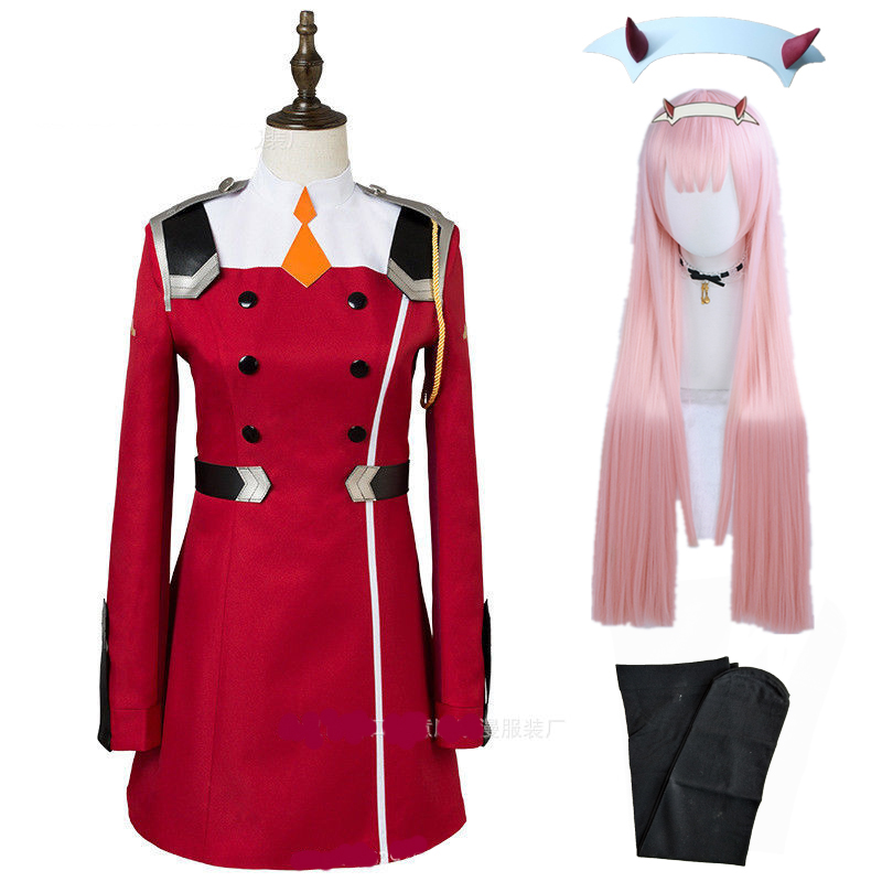 02 Zero Two Cosplay Costume DARLING In The FRANXX Cosplay DFXX Women Costume Full Sets Dress Headwear Wigs