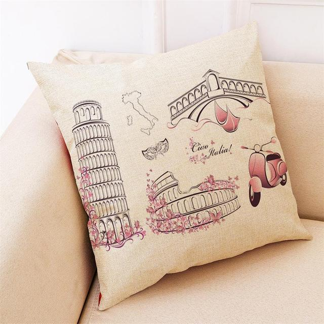 Retro City Patterned Linen Cushion Cover