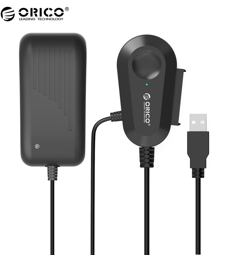 ORICO 35UTS USB3.0 2.5 & 3.5 inch SATA External Hard Drive Adapter with Built-in 8 inch USB3.0 Cable - Black