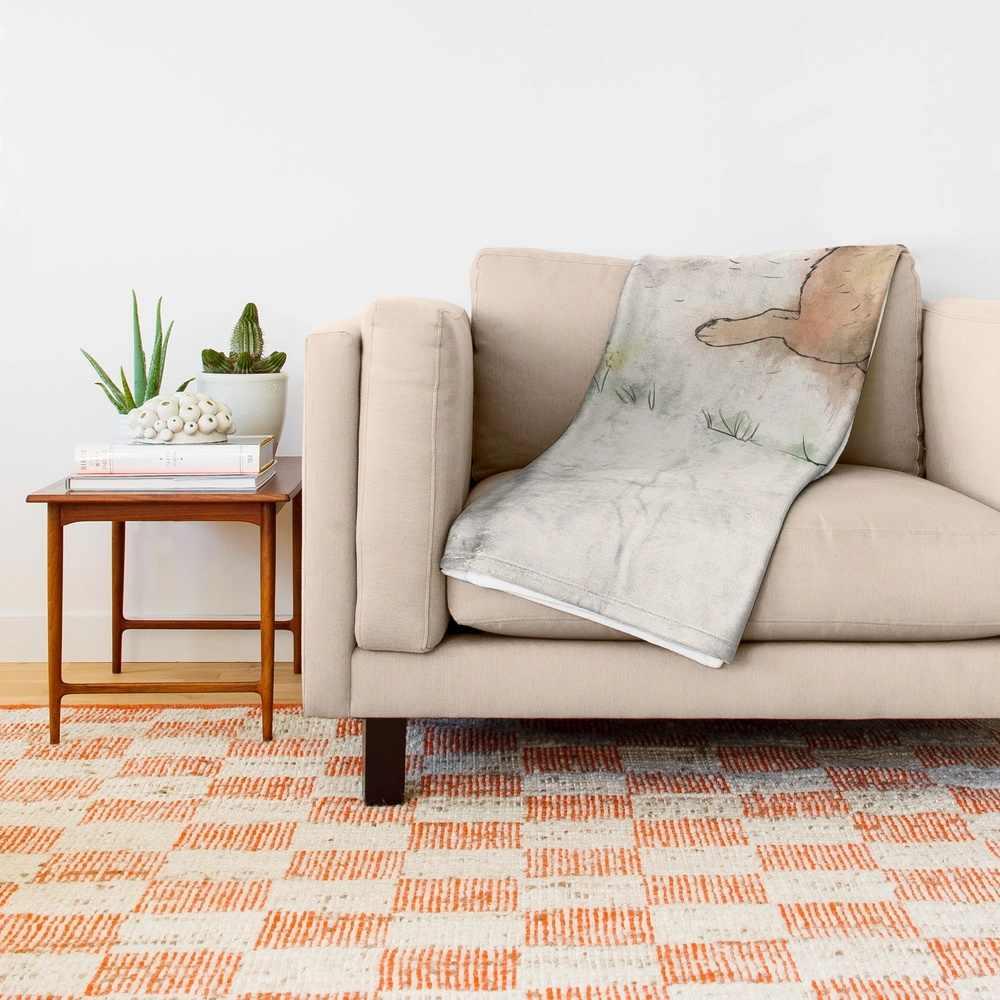 The Furminator pug watercolor like art Throw Blanket Bedspread Design Soft Fleece Throw Blanket Air/Sofa/Bedding Soft Winte