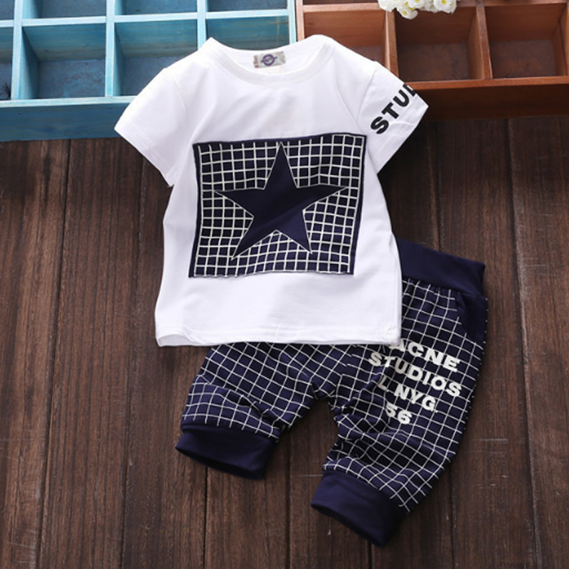 2018 Summer Style Infant Clothes Baby Clothing Sets Cotton Five-pointed star Short Sleeve 2pcs Baby Boy Girls Clothes