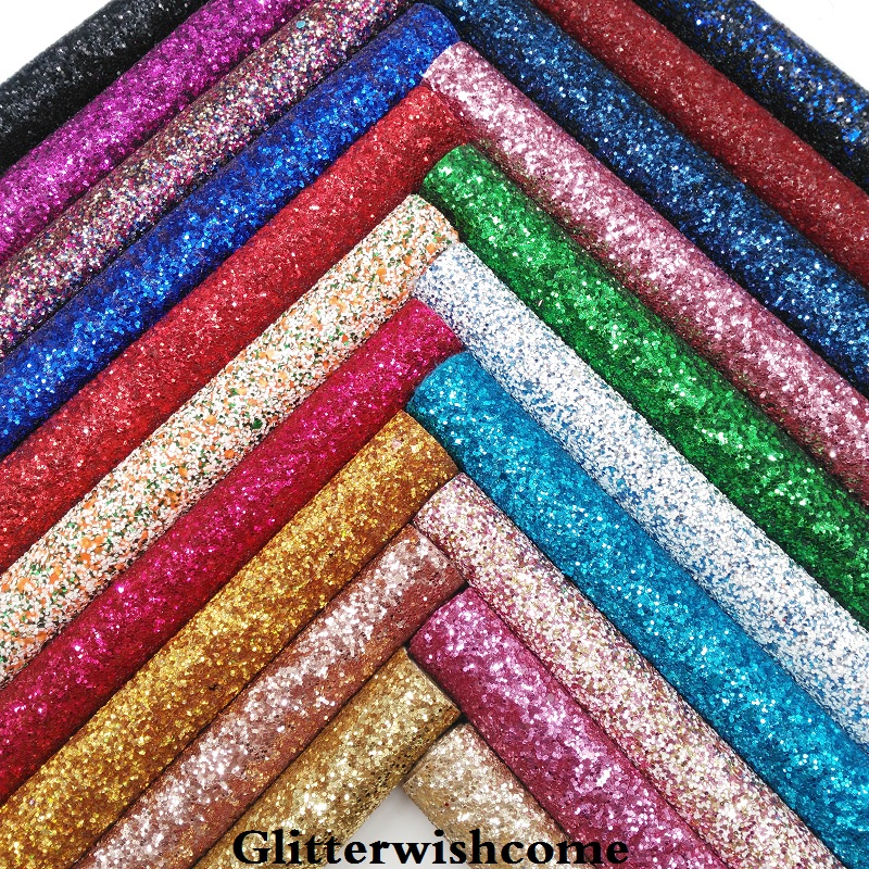 Glitterwishcome 21X29CM A4 Size Synthetic Leather, Color Matching Backing, Chunky Glitter Leather Vinyl For Bows, GM029A