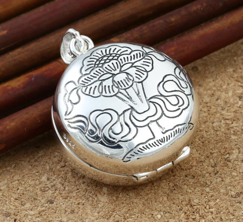 S925 sterling silver ethnic lotus carp double sided soul pendant (FGL)S925 sterling silver ethnic lotus carp double sided soul pendant (FGL)