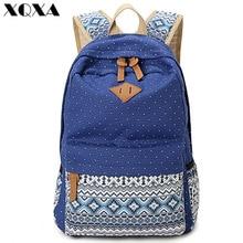 Xqxa Винтаж Девушка школьные сумки для подростков в милый горошек печати холст женщины рюкзак Mochila Feminina Повседневная сумка рюкзак школы(China (Mainland))