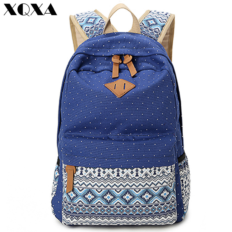 XQXA Vintage Girl School Bags For Teenagers Cute Dot Printing Canvas Women Backpack Mochila Feminina Casual Bag School Backpack