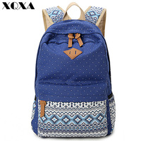 2015 Vintage Girl School Bags For Teenagers Cute Dot Printing Canvas Women Backpack Mochila Feminina Casual