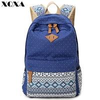 2015 Vintage Girl School Bags For Teenagers Cute Dot Printing Canvas Women Backpack Mochila Feminina Casual