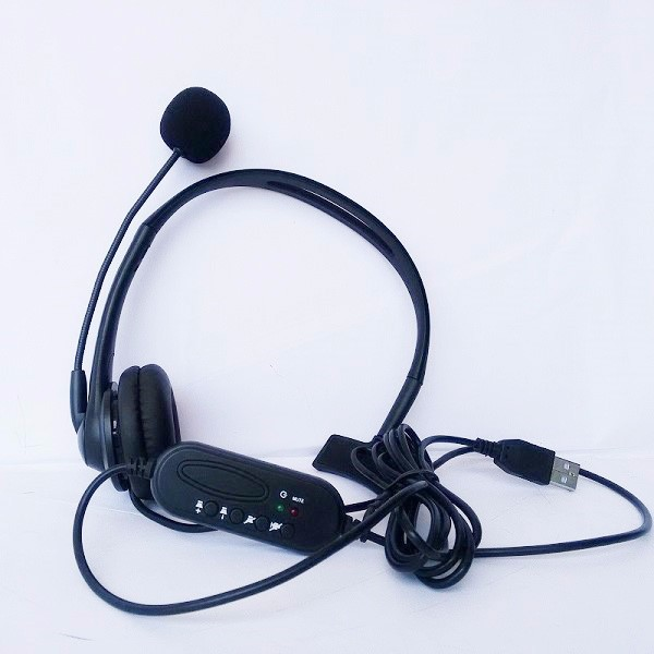 Hands-free Headphones USB Plug Monaural Headset call center computer customer service headset for PC Telephone Laptop Skype Chat image