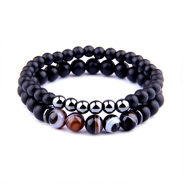 Fashion 2pcs/set Striped Agates Matte Black Onyx Beads Bracelet for Women&Mens Hematite Energy Jewelry Pulseras Masculina