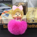 New Cute Big Head Monchichi Keychain Bow pompom Rhinestone sleutelhanger Fox Fur ball pom pom Keychain Women bag Accessories