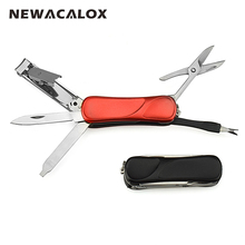 NEWACALOX Mini Fashion Keyring Swiss Knife Nail Clippers Tweezers Scissors Cuticle Pusher Multifunction Portable Hand Tools(China)