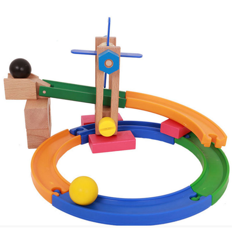 Combination Assembly Wooden Roller Coaster Build Block Wooden Slide Car Wooden Track Build Blocks Educational Toys For Children