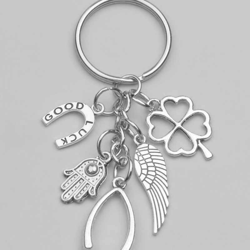 แฟชั่นมือใหม่ Fatima ปีก Clover Good Luck Horseshoe จี้คอ Key Chain แหวน Keychain แพคเกจของขวัญตกแต่ง 1 pcs