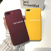SZYHOME Phone Cases for IPhone 6 6s 7 8 Plus Simple English No Selfies Yellow Red Frosted Plastic Phone Cover Case Capa Coque