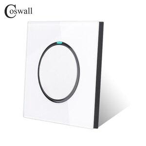 Image 4 - Coswall 1 комплект 1 способ случайный щелчок вкл/выкл настенный выключатель света светодиодный индикатор Хрустальная стеклянная панель Белый Черный Серый Золотой серии R11