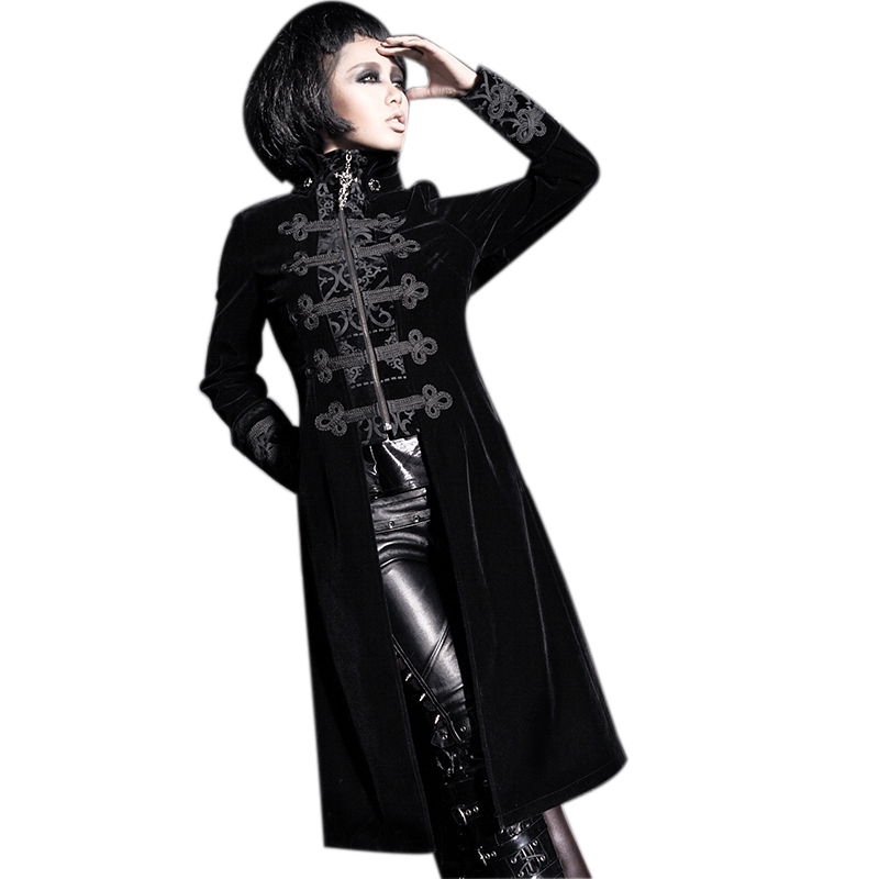 Steampunk Autumn Winter Slim Long Coats Gothic Fake Two-pieces Court Dress Coat Punk Gorgeous Embossed   Trench   Windbreakers