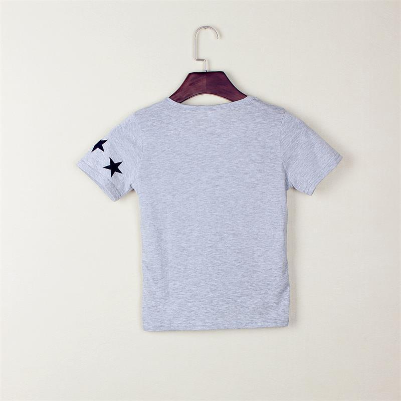 스타 인쇄 솔리드 그레이 소년 티셔츠 여름 짧은 - 아동복 - 사진 2
