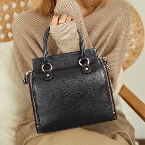 Image 5 - Sapateiro lenda super organizador bolsa de couro genuíno preto saco do mensageiro designer alça superior bolsas femininas tote macio satchel 2019
